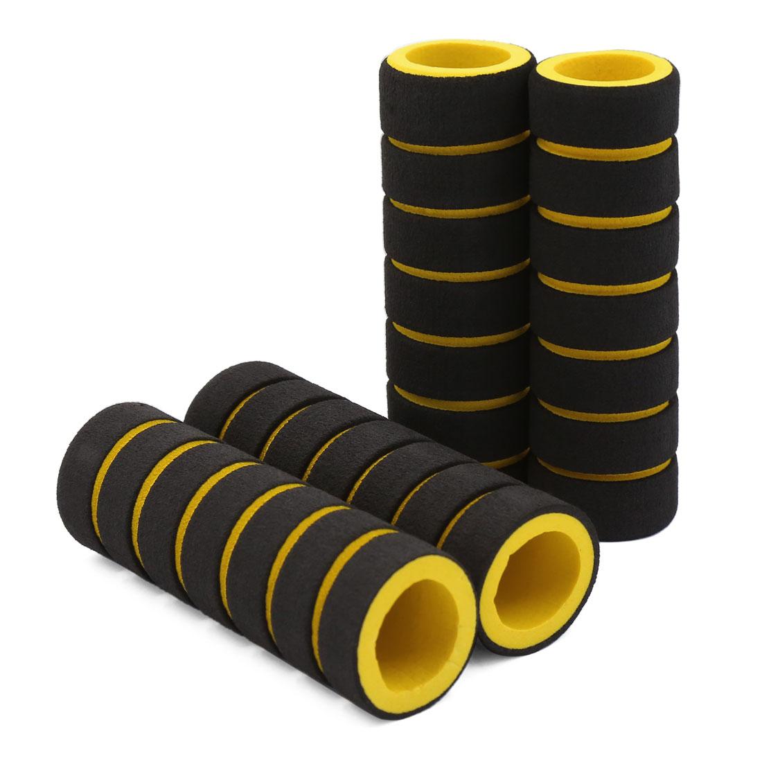 4pcs 22mm Inner Dia Antislip Handlebar Soft Sponge Cover Black Yellow for Bike Motorcycle