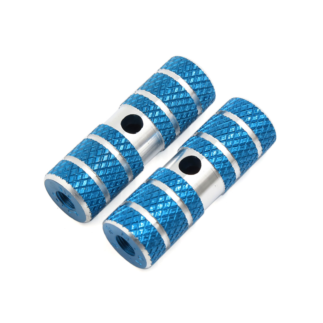 Pair Blue Aluminum Alloy Nonslip Cycling Bike Bicycle Axle Foot Pegs 70mm x 23mm