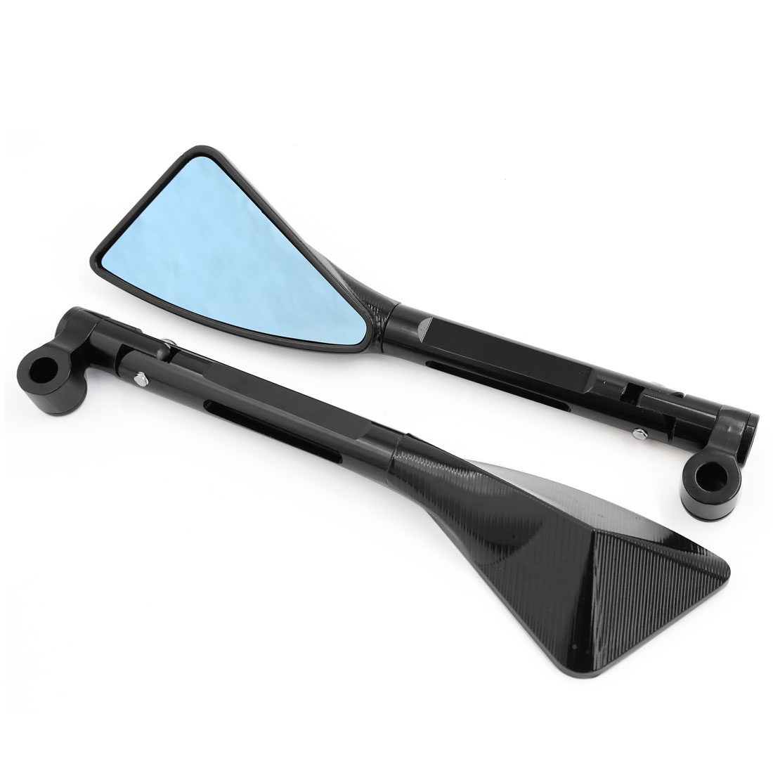 Pair CNC Aluminum Alloy Adjustable Angle Motorcycle Side Rearview Mirrors Black