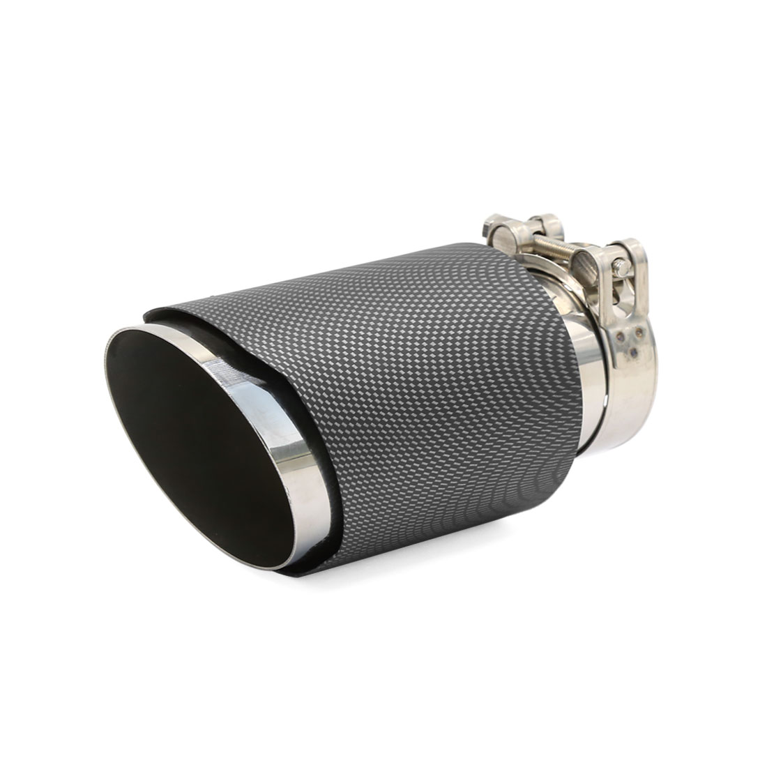 60-63mm Adjustable Inlet Dia Slant Cut Carbon Fiber Print Car Exhaust Pipe Muffler Tip