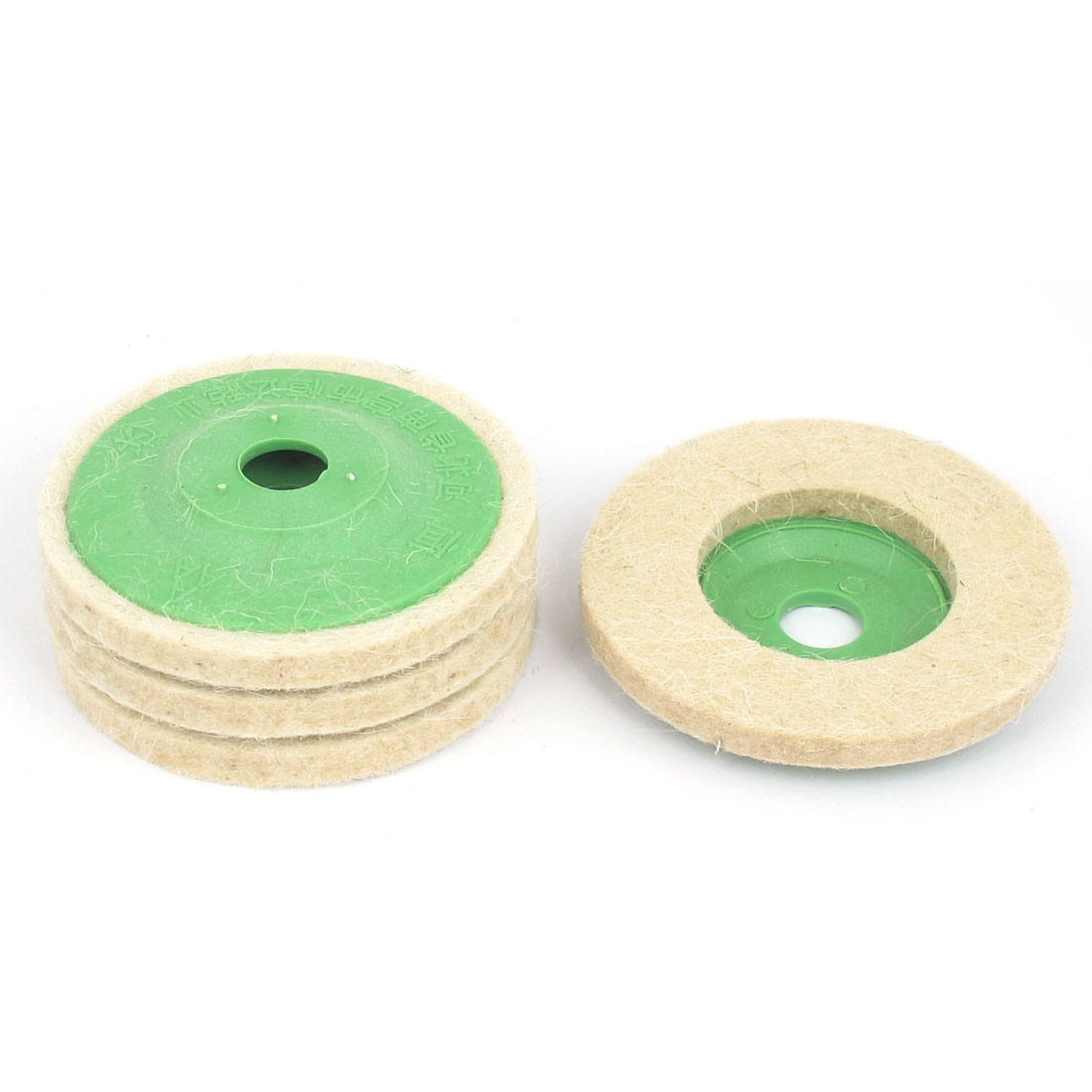 95mm Outer Dia Wool Tools Felt Polishing Wheel Buffing Discs Pads Beige 4pcs