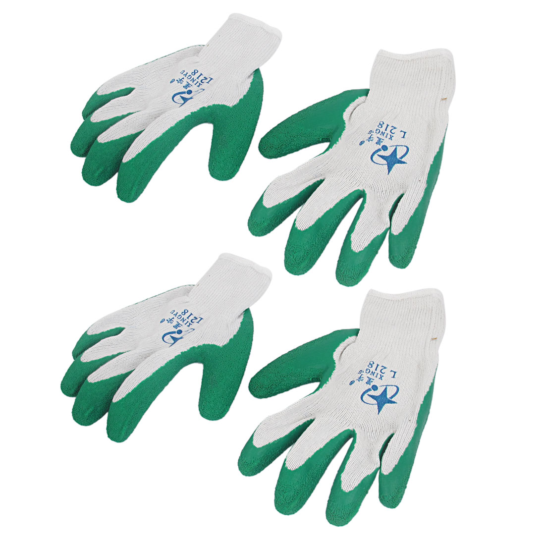 2 Pairs Green Latex Rubber Coated Palm Elastic Cuff Work Safety Gloves