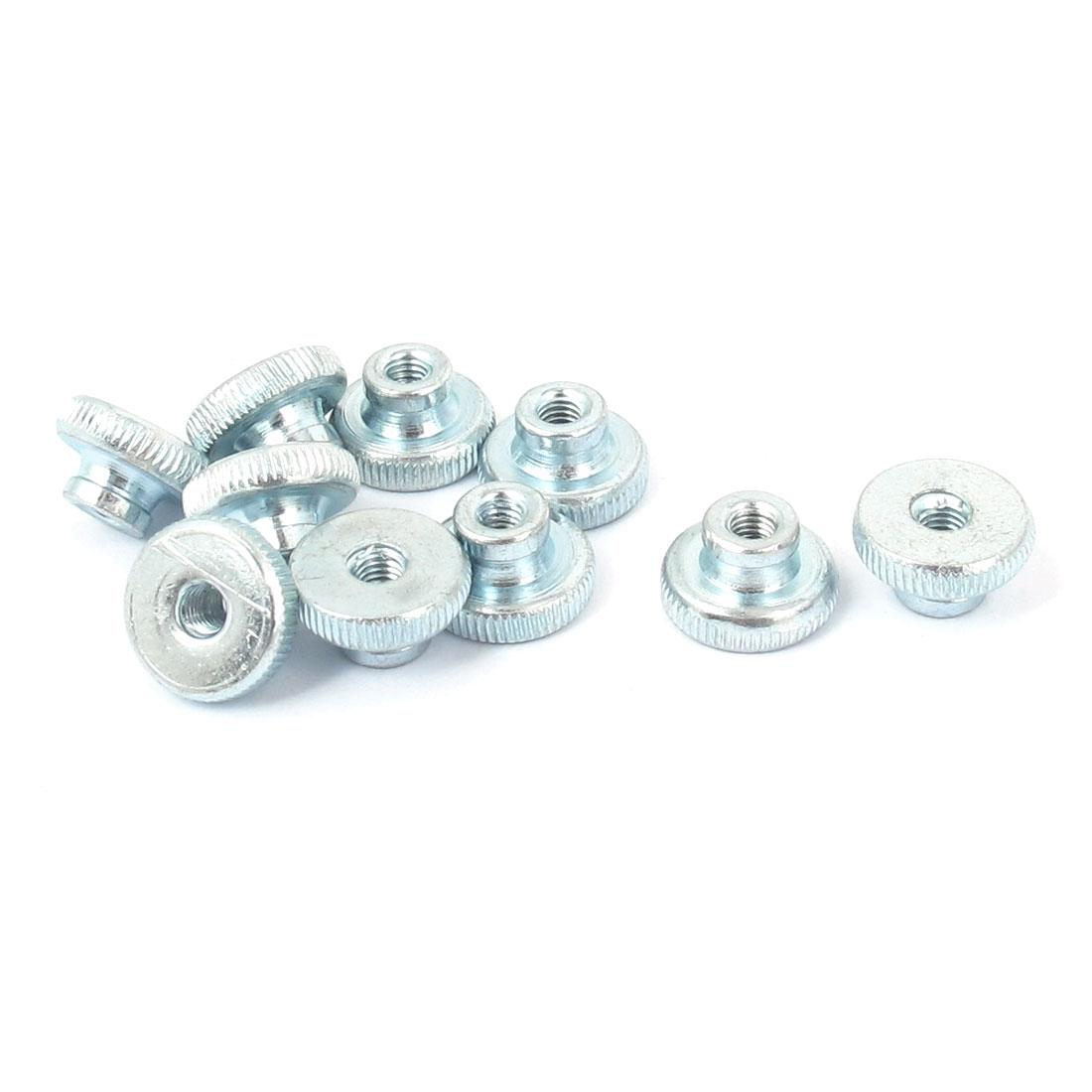 Metal Knurled Head Thumb Nut Fastener Silver Tone M3 10 Pcs
