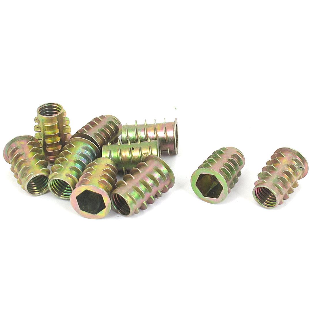 10 Pcs M10x23mm Zinc Plated Hex Socket Screw in Thread Insert Nut for Wood