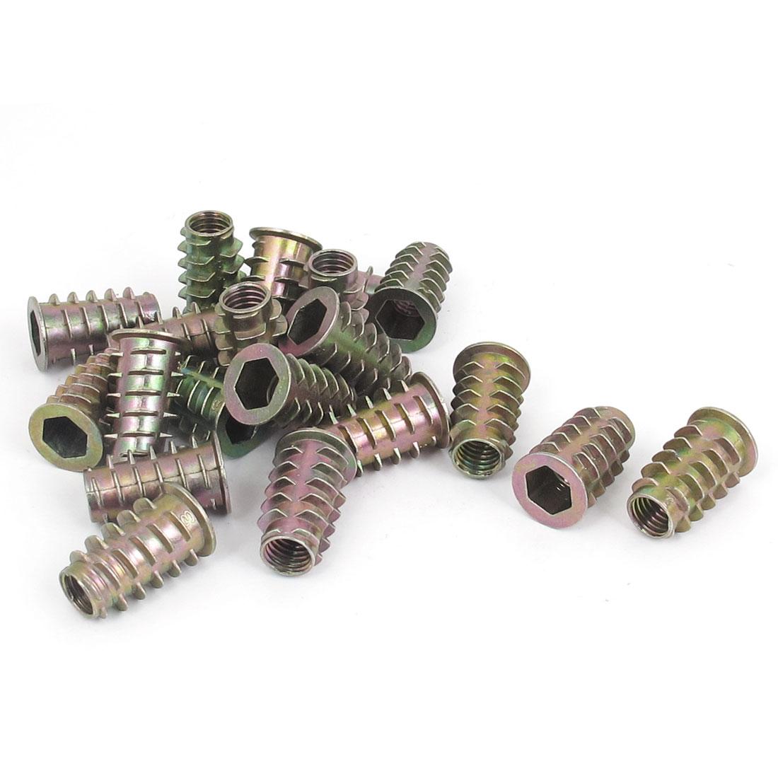20 Pcs M8x23mm Zinc Plated Hex Socket Screw in Thread Insert Nut for Wood