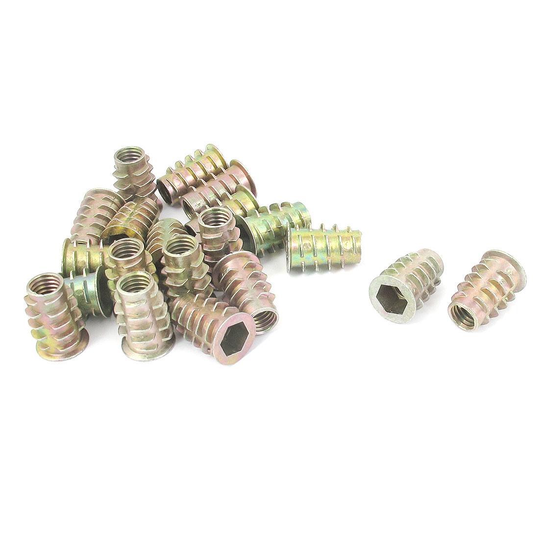 20 Pcs M8x20mm Zinc Plated Hex Socket Screw in Thread Insert Nut for Wood