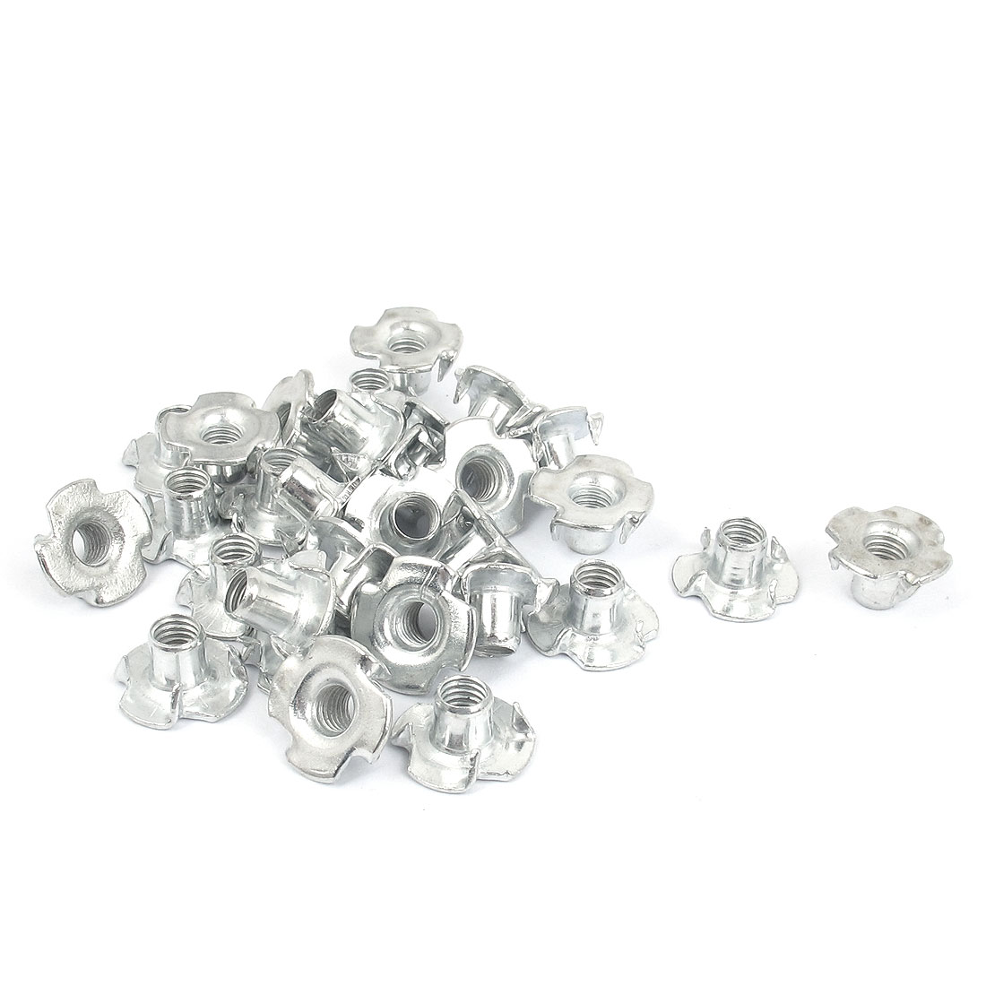30 Pcs M6x1mm T Nut Zinc Plated 4 Prong Tee Nuts Fasteners