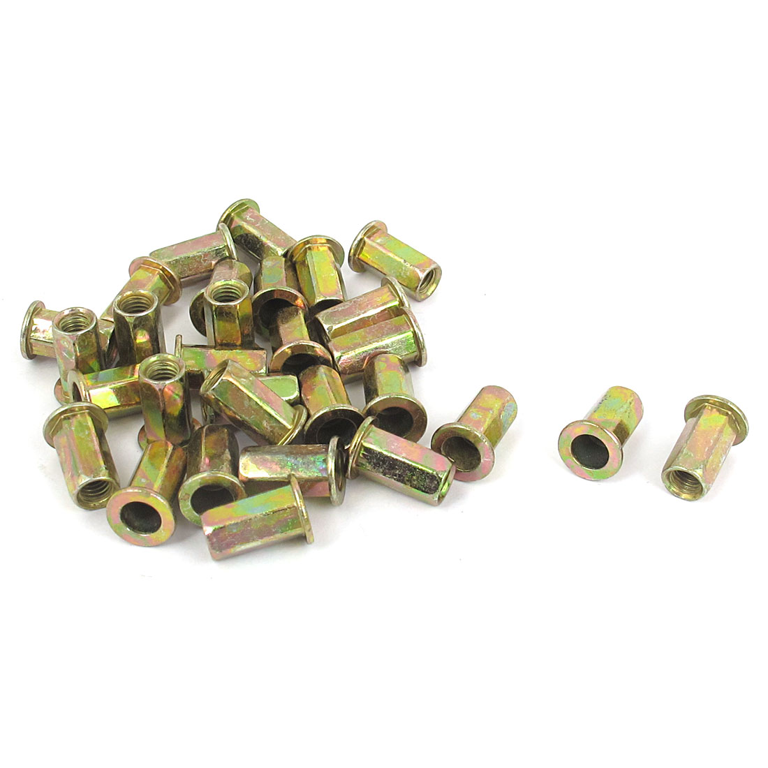 30 Pcs M5x13mm Flat Head Hex Body Open End Blind Rivet Nuts Nutserts Fasteners