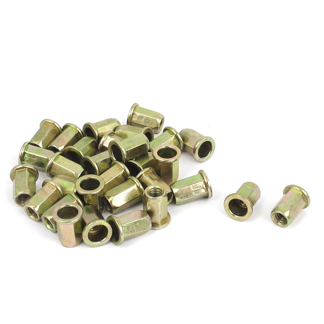 30 Pcs M6x14mm Flat Head Hex Body Open End Blind Rivet Nuts Nutserts Fasteners