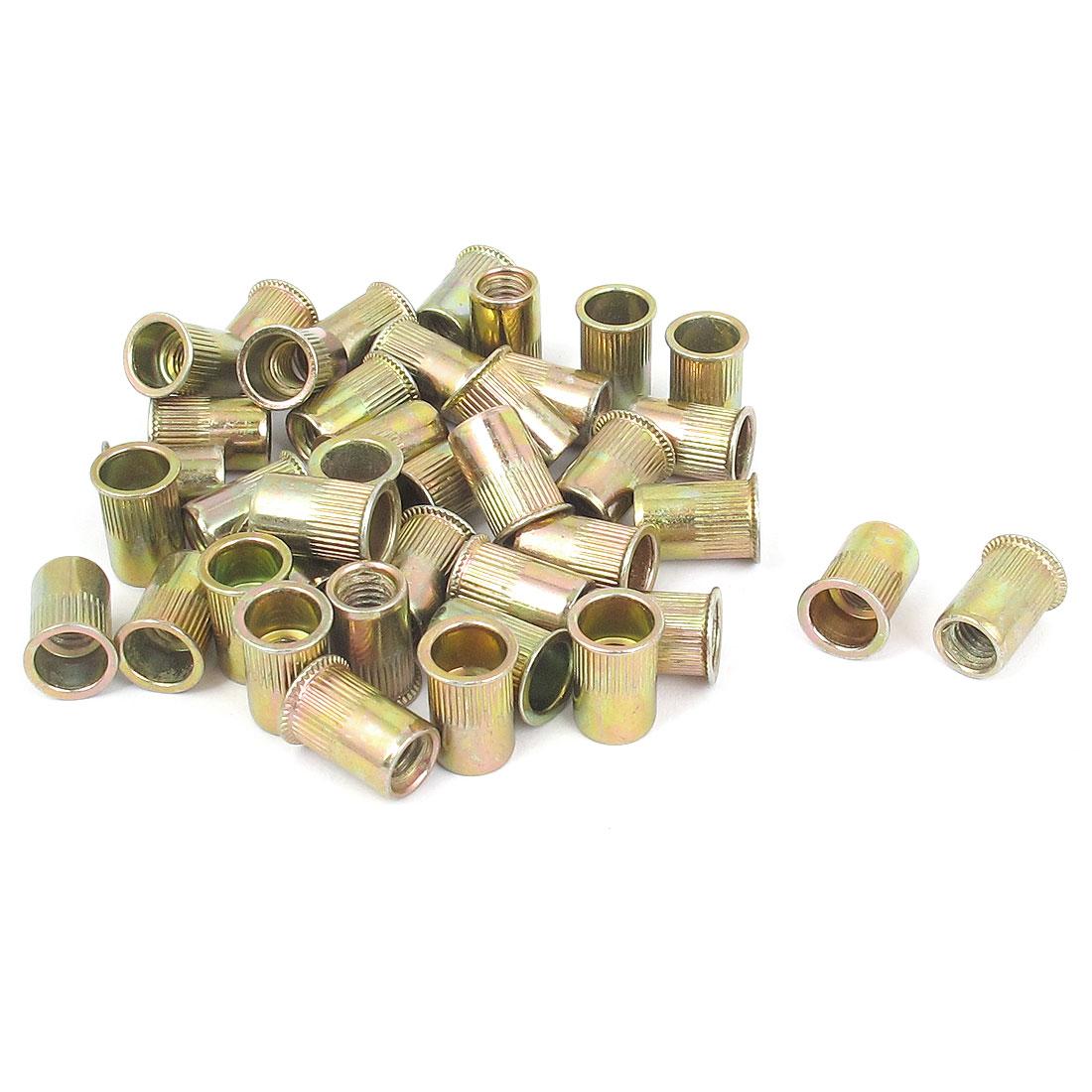 40 Pcs 6mm Thread Dia Zinc Plated Rivet Nut Insert Nutsert Brass Tone