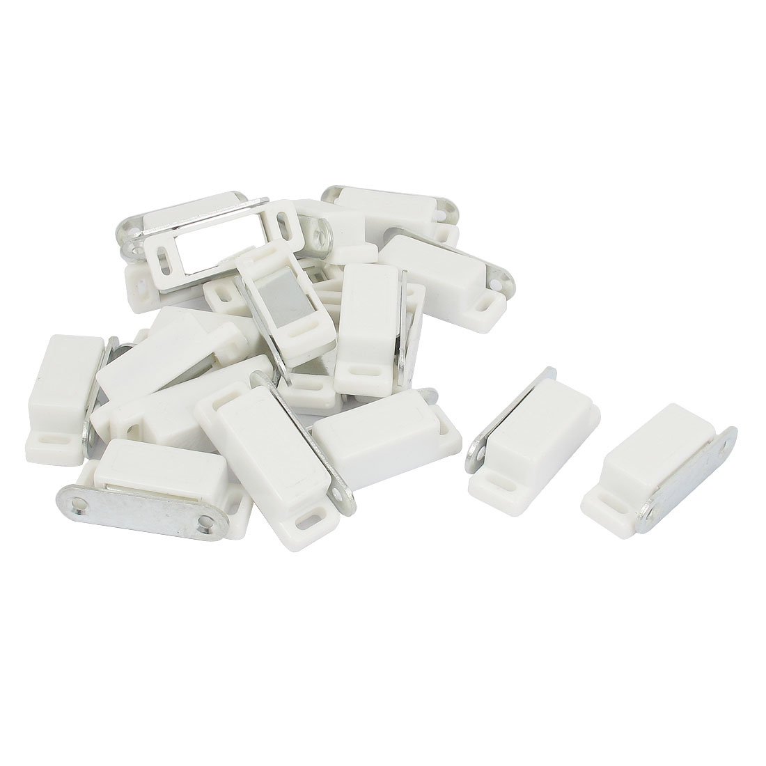 Cabinet Cupboard Door Plastic Magnetic Latch Catch White 44mm Long 20 Pcs