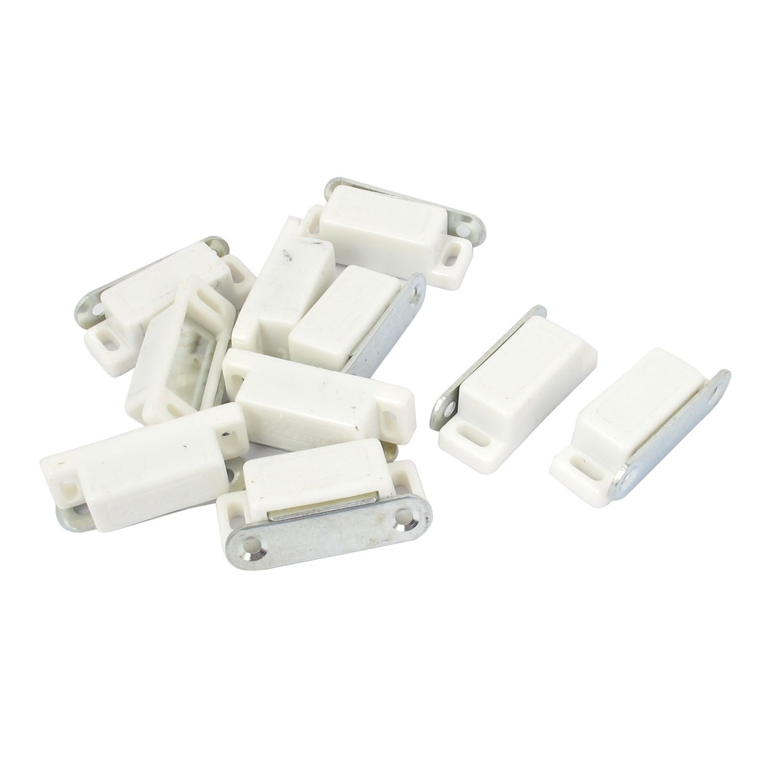 Cabinet Cupboard Door Plastic Magnetic Latch Catch White 46mm Long 10 Pcs
