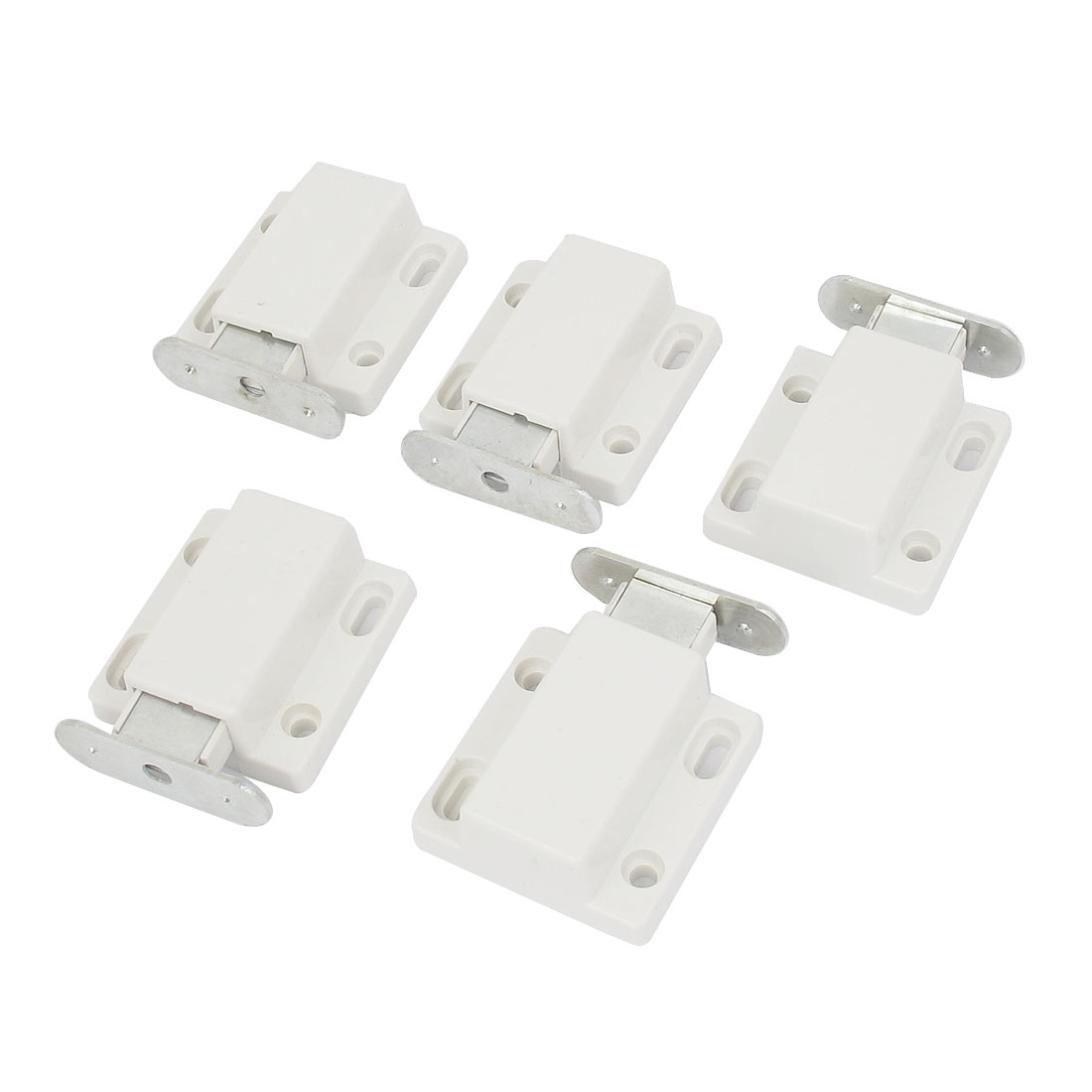 Cabinet Cupboard Door Plastic Magnetic Latch Catch White 47mm Long 5 Pcs