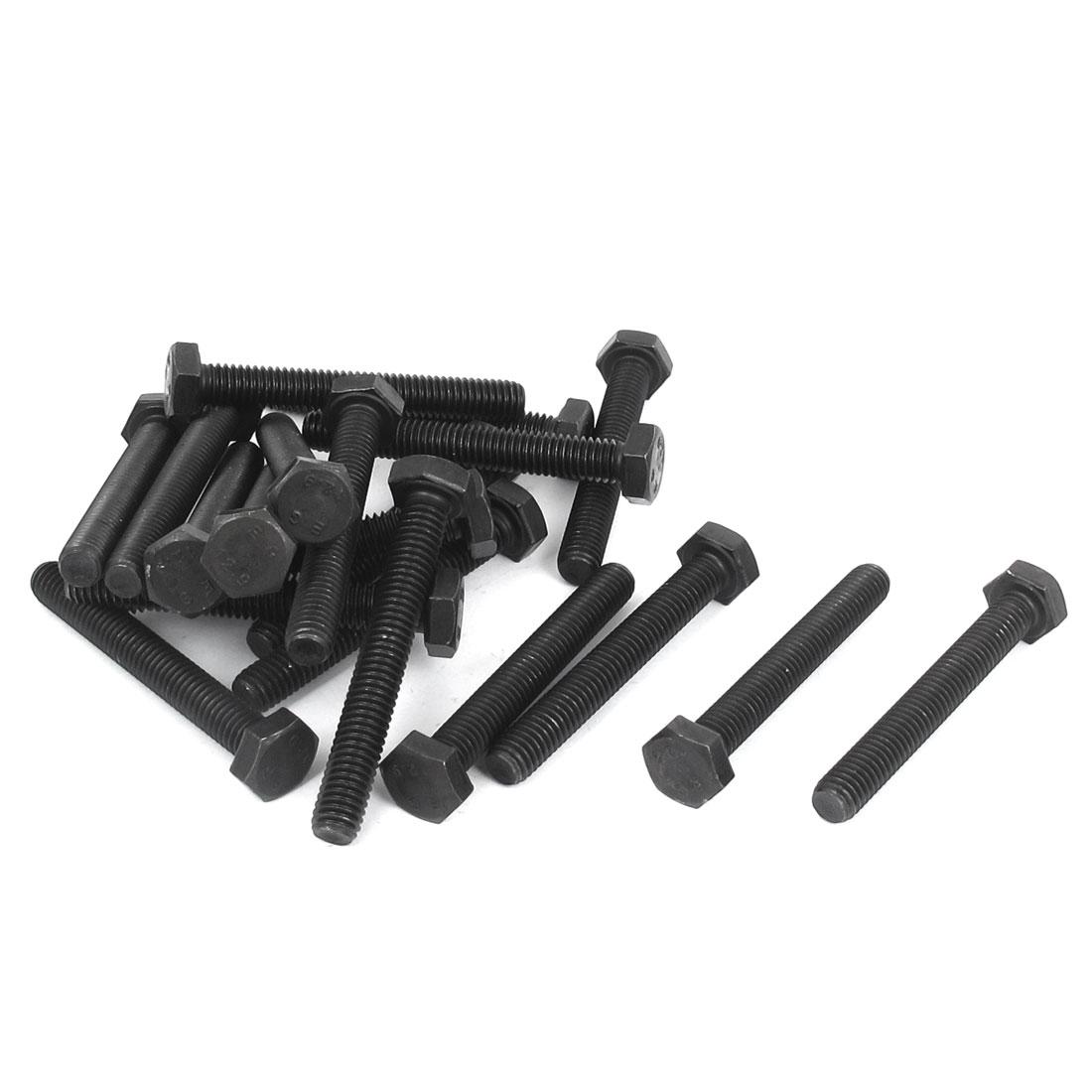 M6 x 45mm Full Thread Hexagonal Head Cap Screw Bolt Black 20 Pcs