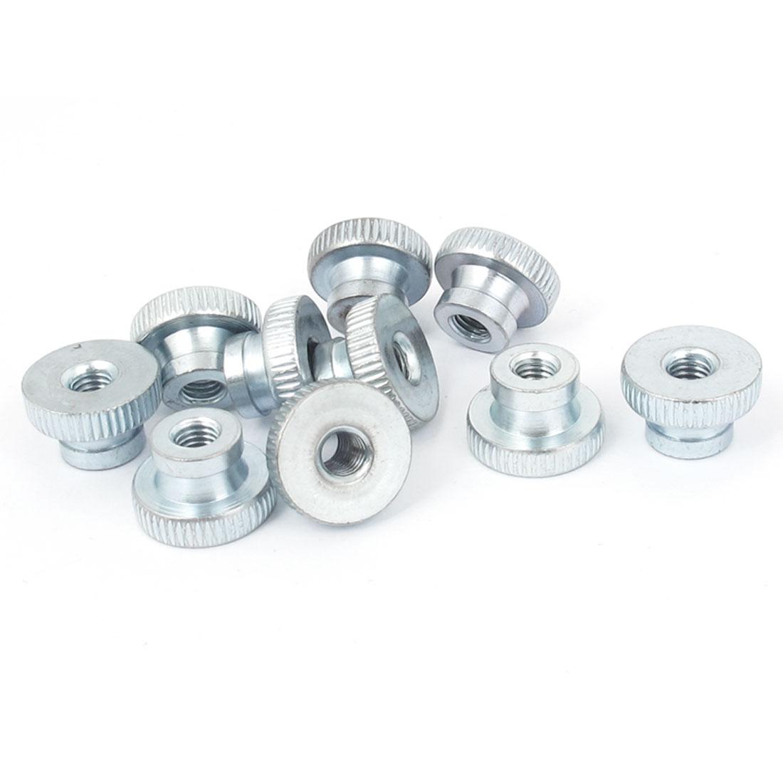 Metal Knurled Head Thumb Nut Fastener Silver Tone M5 10 Pcs