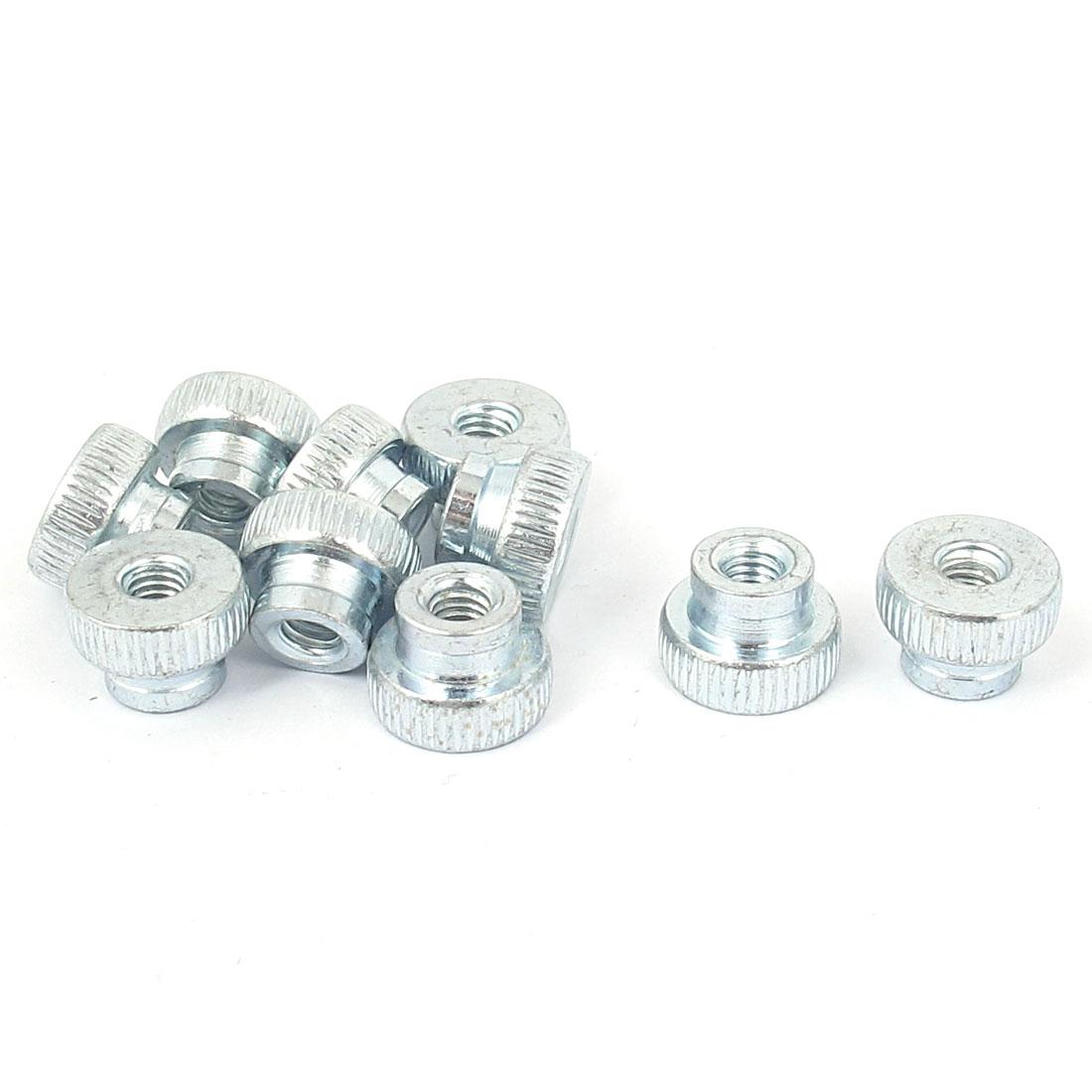 Metal Knurled Head Thumb Nut Fastener Silver Tone M4 10 Pcs