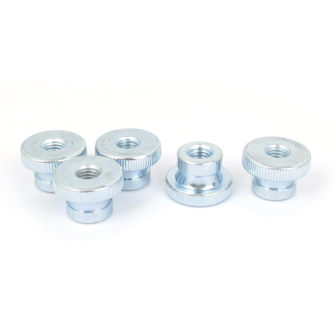 Metal Knurled Head Thumb Nut Fastener Silver Tone M8 5 Pcs