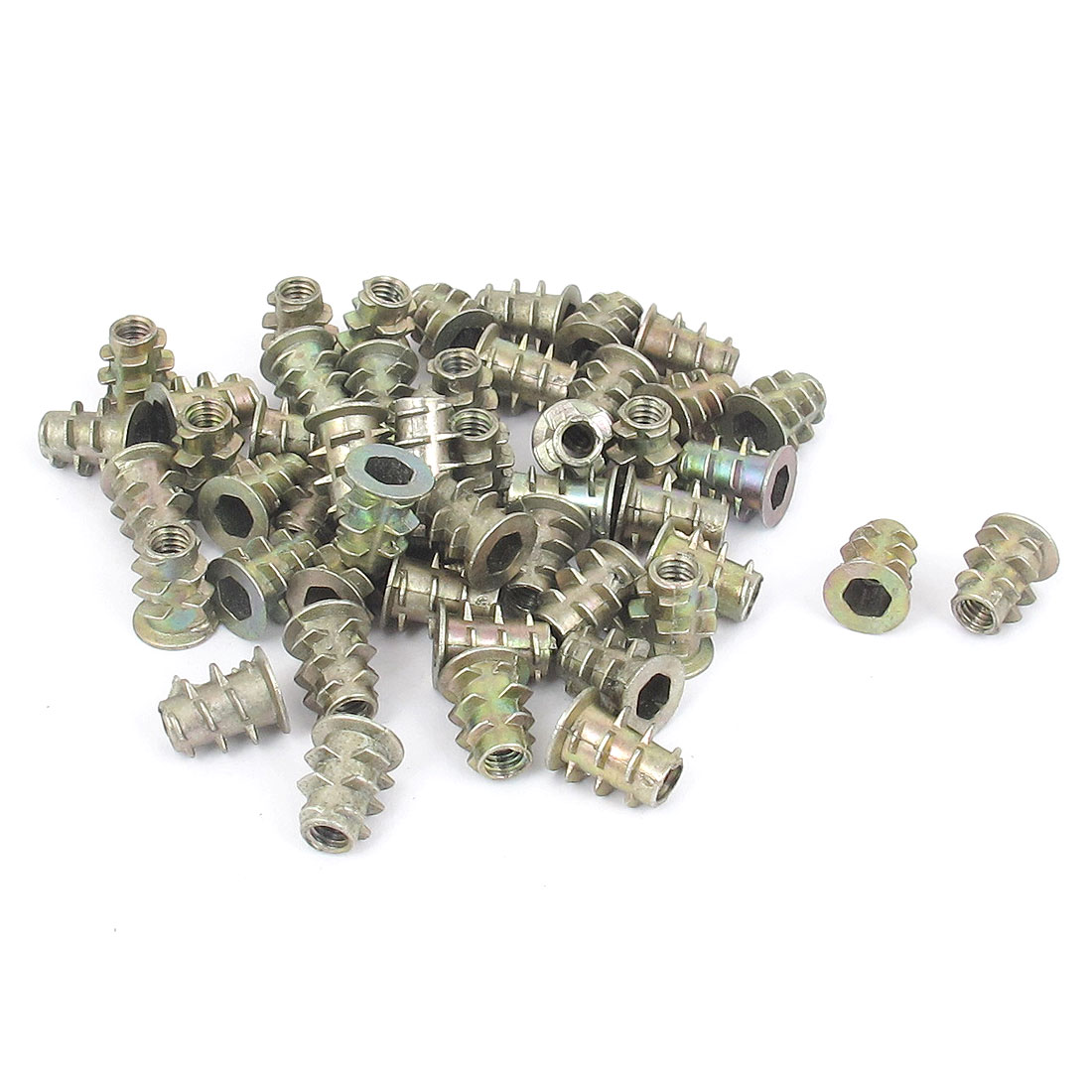 50 Pcs M4x10mm Zinc Plated Hex Socket Screw in Thread Insert Nut for Wood