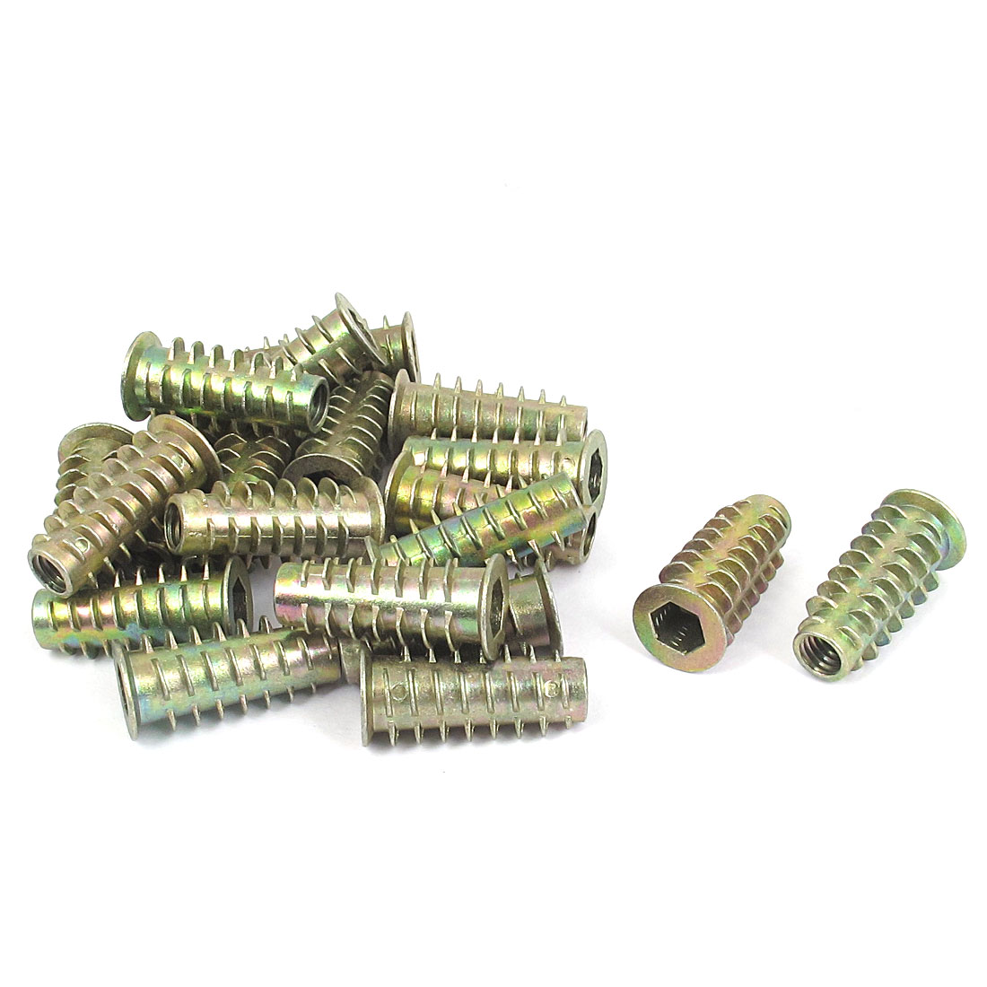 20 Pcs M6x25mm Zinc Plated Hex Socket Screw in Thread Insert Nut for Wood