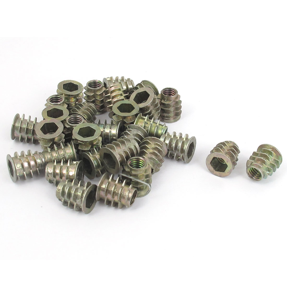 30 Pcs M6x13mm Zinc Plated Hex Socket Screw in Thread Insert Nut for Wood
