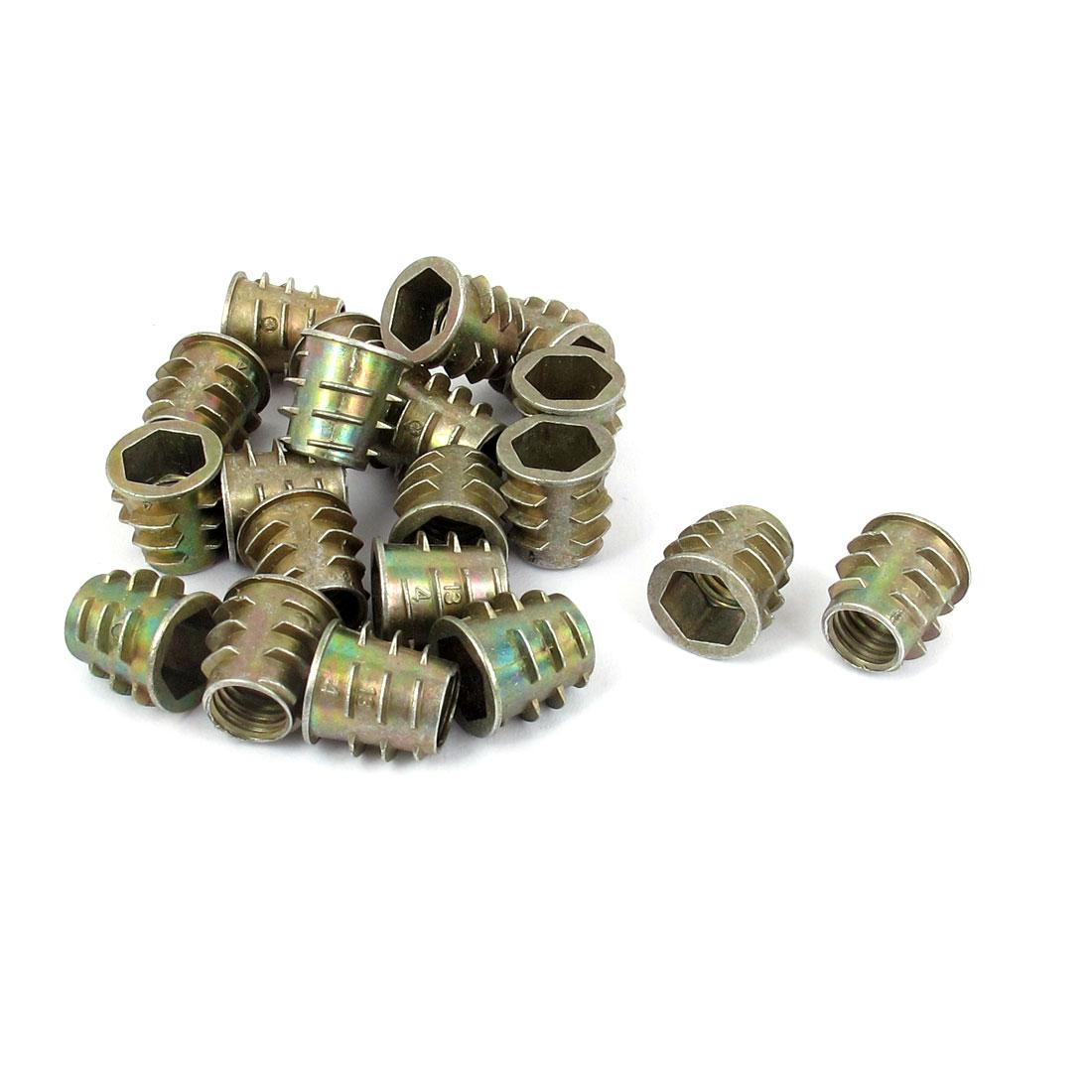 20 Pcs M8x13mm Zinc Plated Hex Socket Screw in Thread Insert Nut for Wood