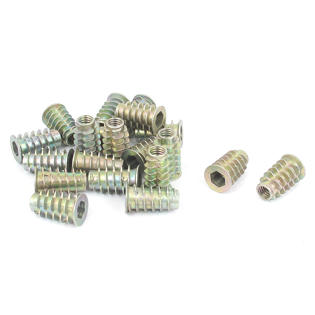 20 Pcs M6x20mm Zinc Plated Hex Socket Screw in Thread Insert Nut for Wood