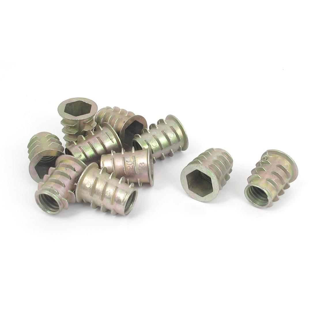 10 Pcs M10x20mm Zinc Plated Hex Socket Screw in Thread Insert Nut for Wood
