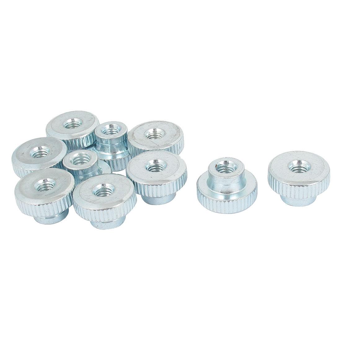 Metal Knurled Head Thumb Nut Fastener Silver Tone M6 10 Pcs