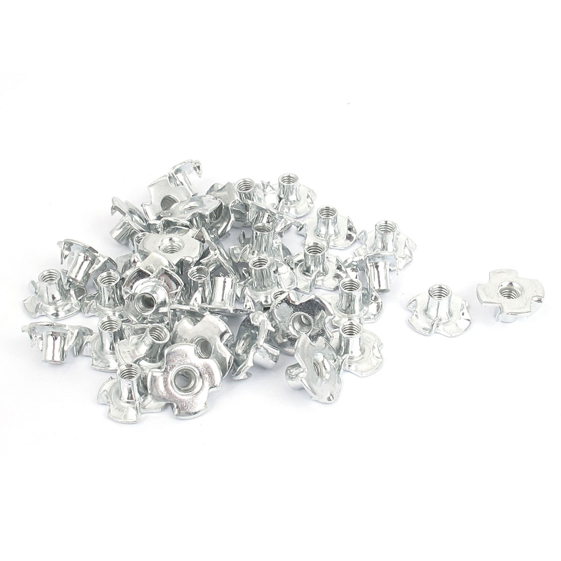 40 Pcs M4x0.7mm T Nut Zinc Plated 4 Prong Tee Nuts Fasteners