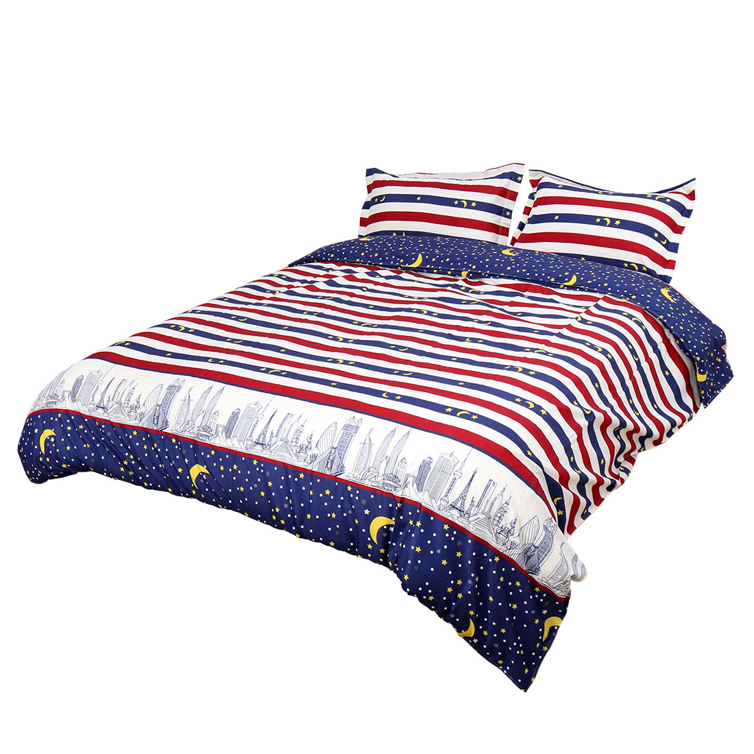 City Night Pattern Duvet Cover Pillowcase Quilt Cover Bedding Set Super King Size