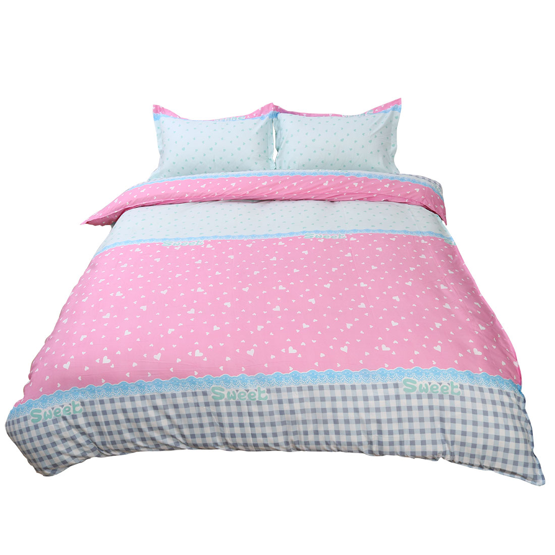Hearts Pattern Duvet Cover Pillowcase Quilt Cover Bedding Set Double Size Pink
