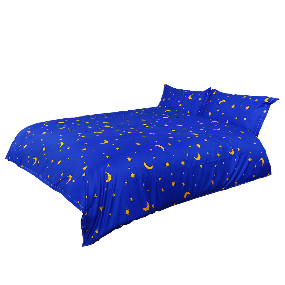 Blue Moon Stars Pattern Duvet Cover Pillowcase Quilt Cover Bedding Set Super King Size