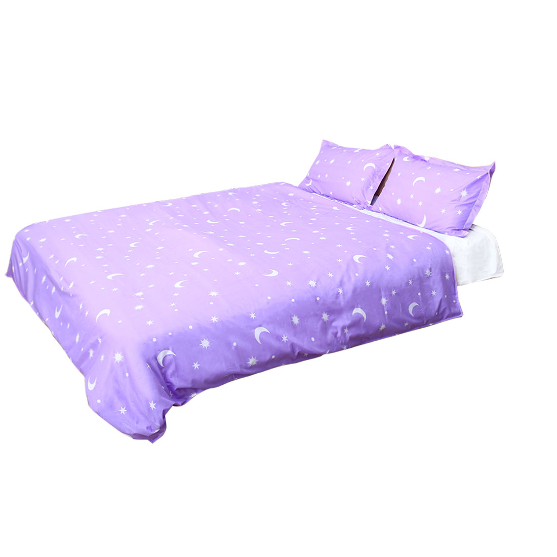 Moon Stars Pattern Duvet Cover Pillowcase Quilt Cover Bedding Set Purple Single Size