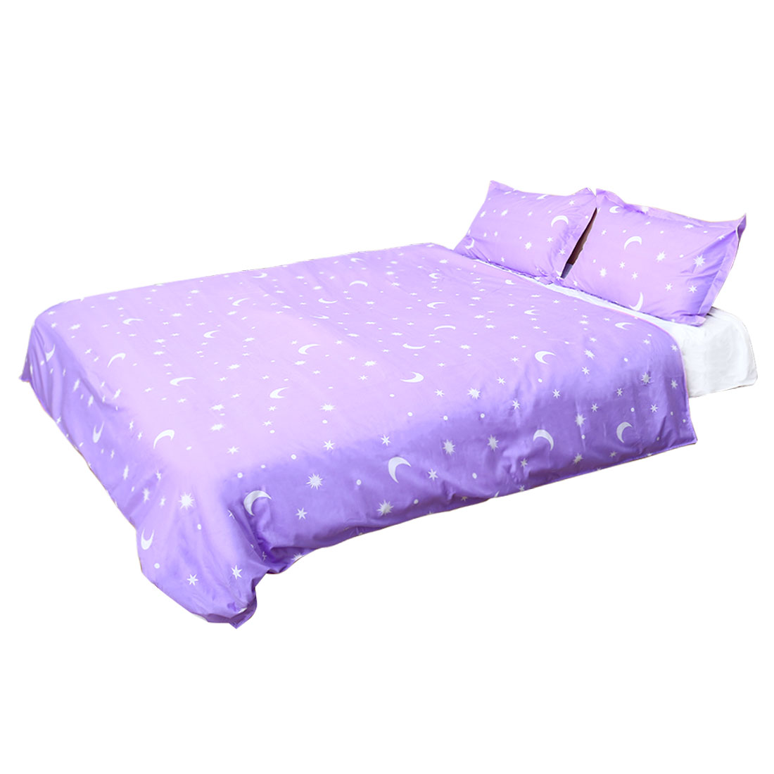 Moon Stars Pattern Duvet Cover Pillowcase Quilt Cover Bedding Set Purple Super King Size