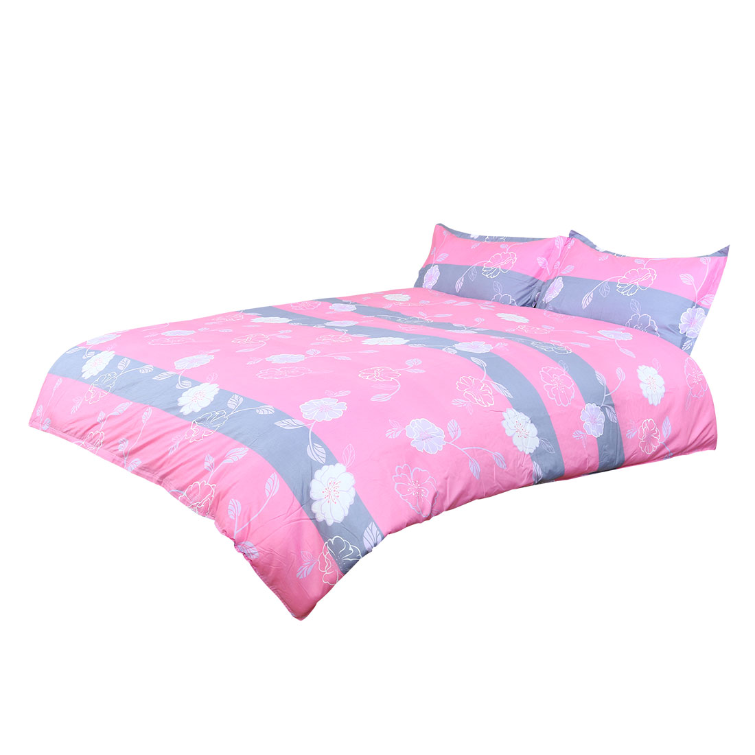 Flowers Pattern Duvet Cover Pillowcase Quilt Cover Bedding Set Pink King Size