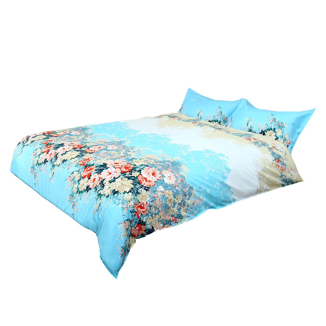 Flower Pattern Duvet Cover Pillowcase Quilt Cover Bedding Set King Size Teal