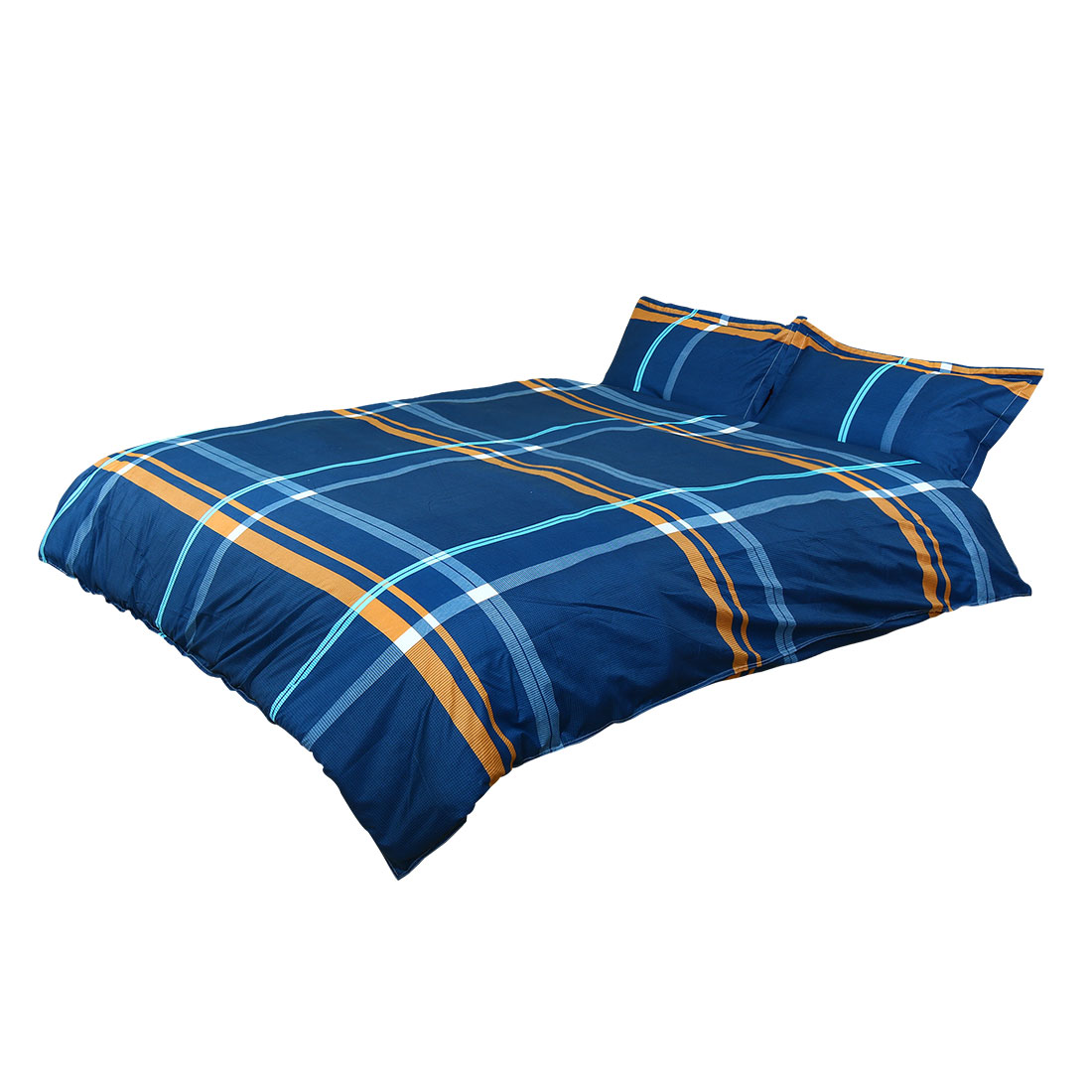 Plaid Pattern Duvet Cover Pillowcase Quilt Cover Bedding Set Super King Blue