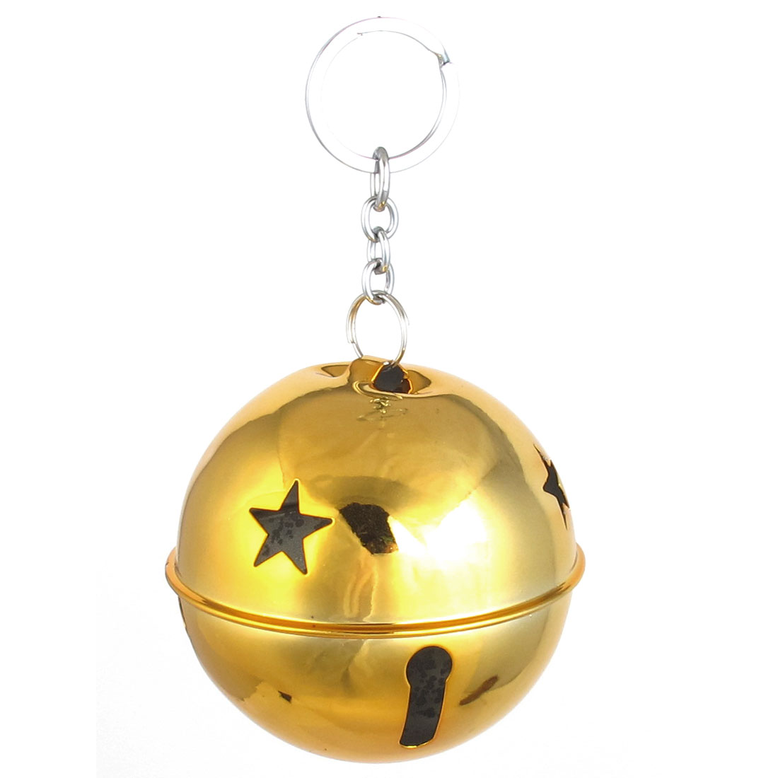 80mm Diameter Yellow Metal Keychain Split Star Hollow Out Design Ring Bell Ornament for Xmas Celebration Case Backpack Purse