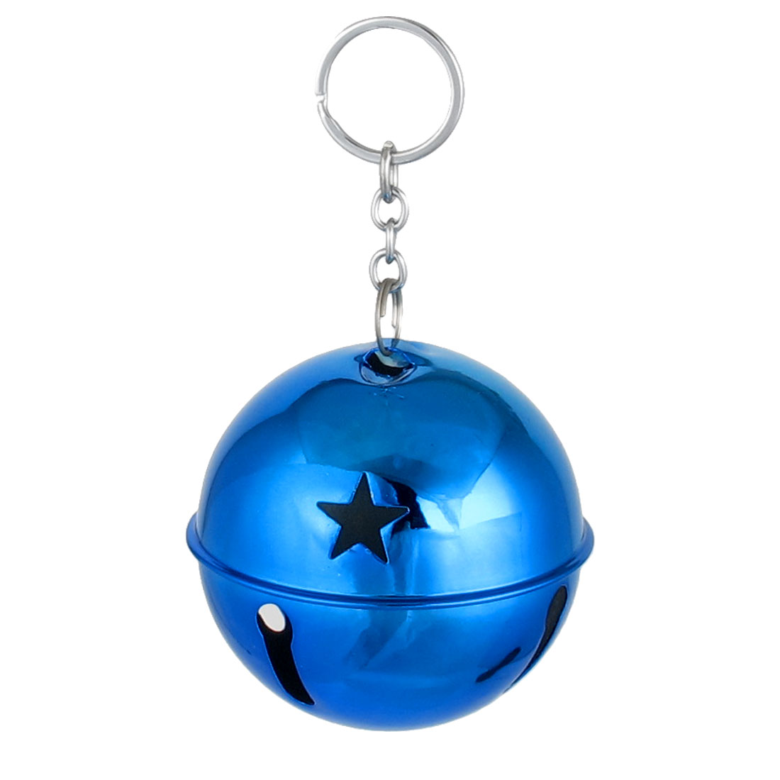 80mm Diameter Dark Blue Metal Keychain Split Star Hollow Out Design Ring Bell Ornament for Xmas Celebration Case Backpack Purse