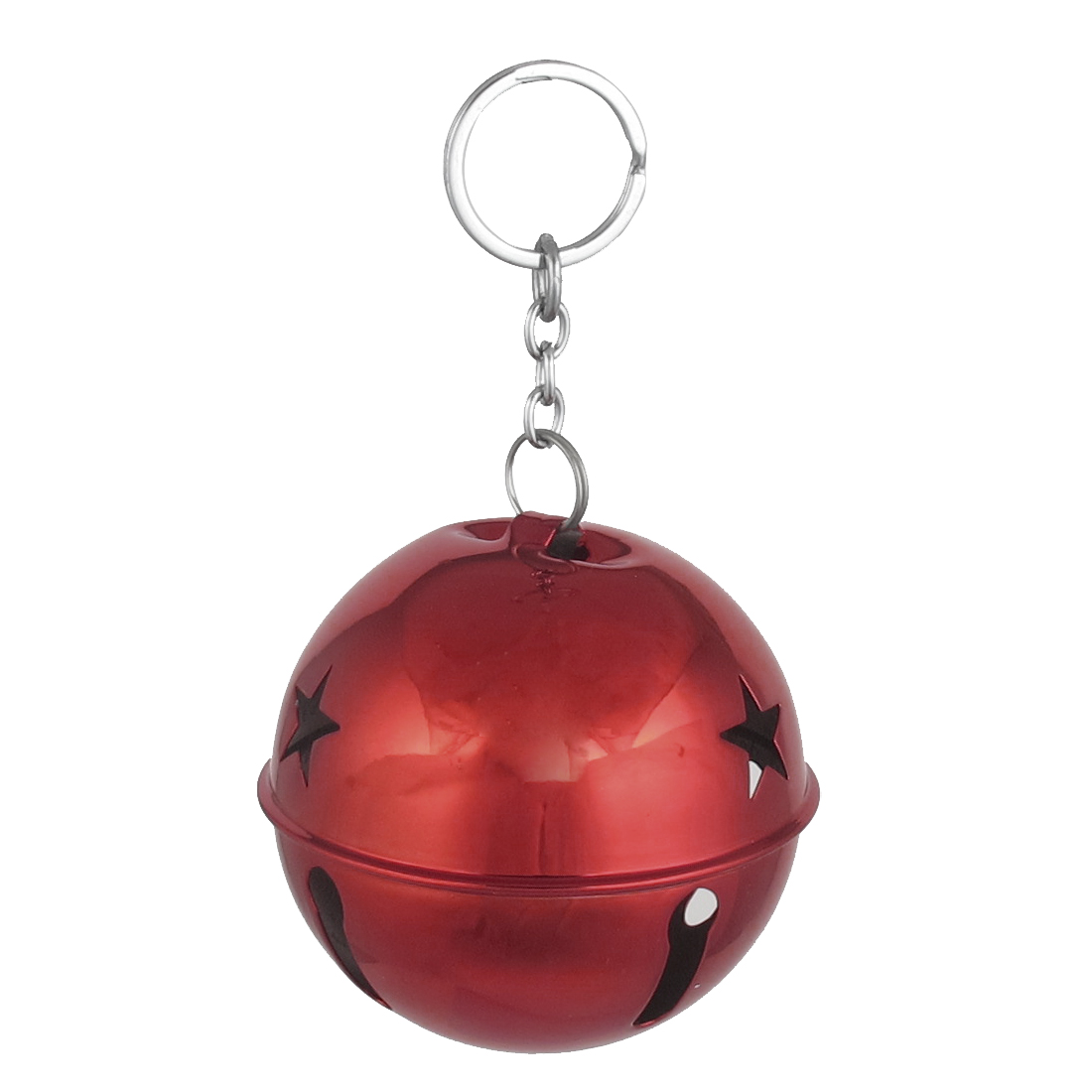 80mm Diameter Red Metal Keychain Split Star Hollow Out Design Ring Bell Ornament for Xmas Celebration Case Backpack Purse