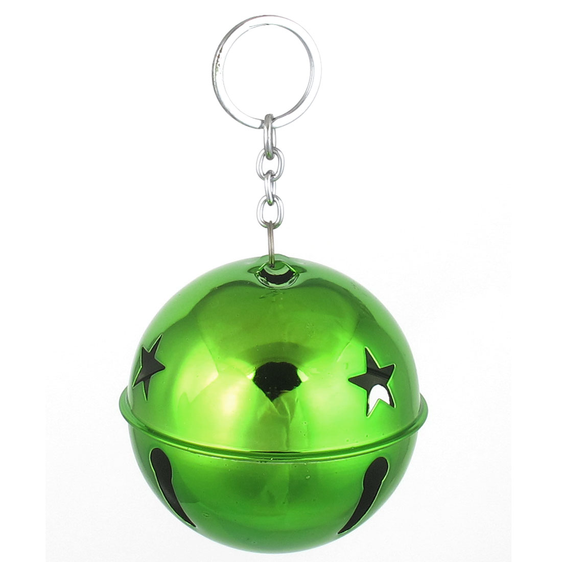 80mm Diameter Green Metal Keychain Split Star Hollow Out Design Ring Bell Ornament for Xmas Celebration Case Backpack Purse