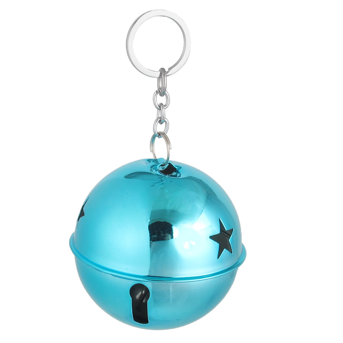 Xmas Purse Metal Hollow Design Keychain Ring Bell Ornament Teal Blue 80mm Dia