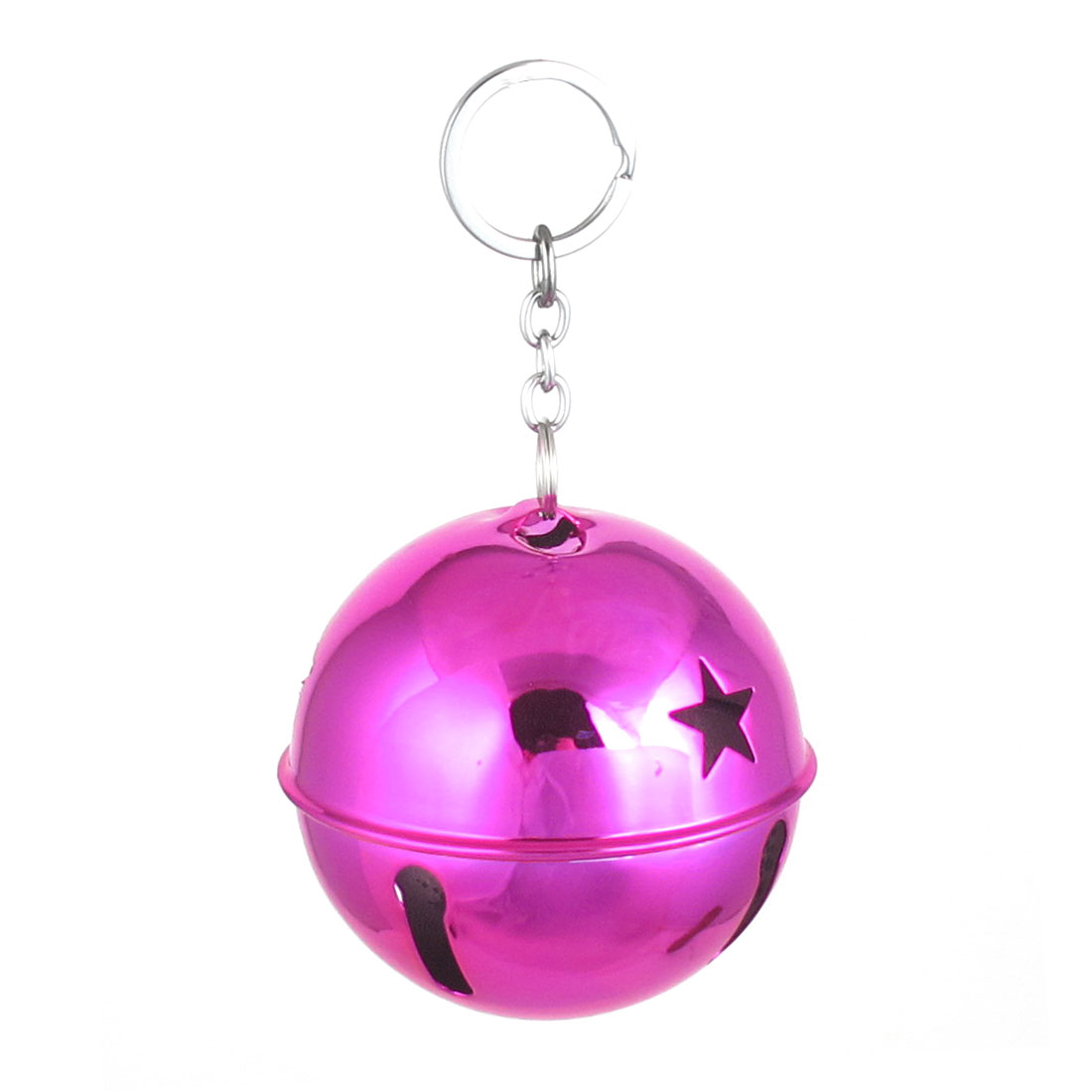 Xmas Purse Backpack Metal Keyring Split Star Hollow Out Design Ring Bell Ornament Fuchsia Color 80mm Dia