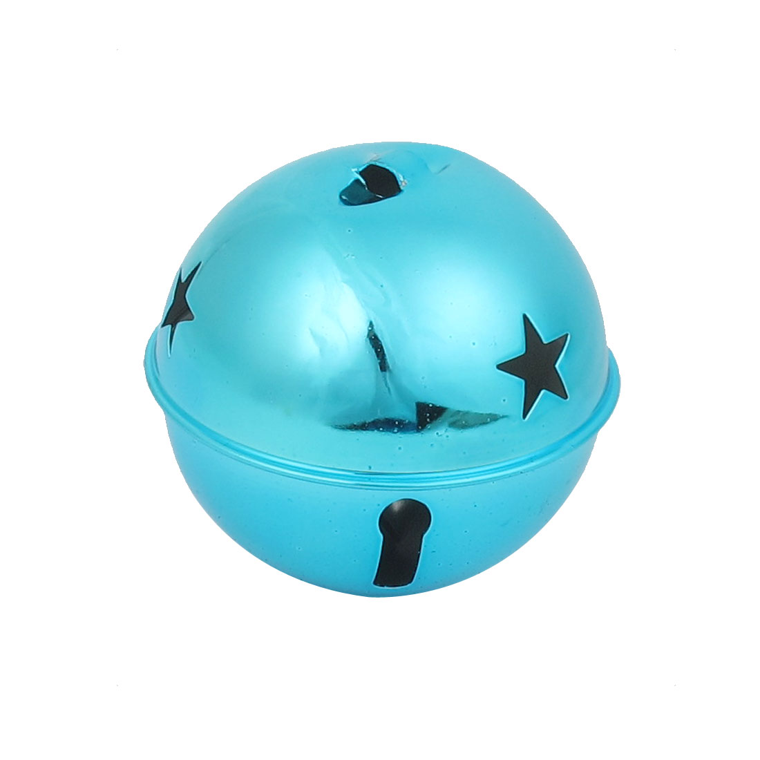 80mm Diameter Teal Blue Metal Star Detail Ball Shape Hollow Out Design Jingle Ring Bell Ornament for Christmas Tree Party