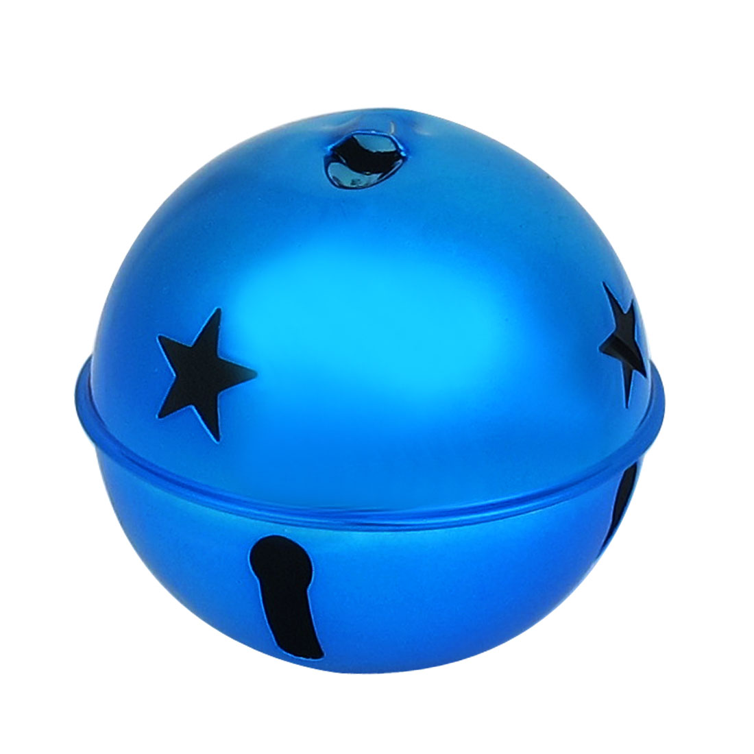 80mm Diameter Dark Blue Metal Star Detail Ball Shape Hollow Out Design Jingle Ring Bell Ornament for Christmas Tree Party
