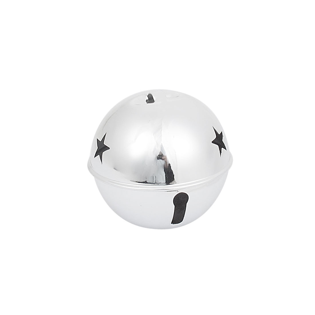 80mm Diameter Silver Tone Metal Star Detail Ball Shape Hollow Out Design Jingle Ring Bell Ornament for Christmas Tree Party