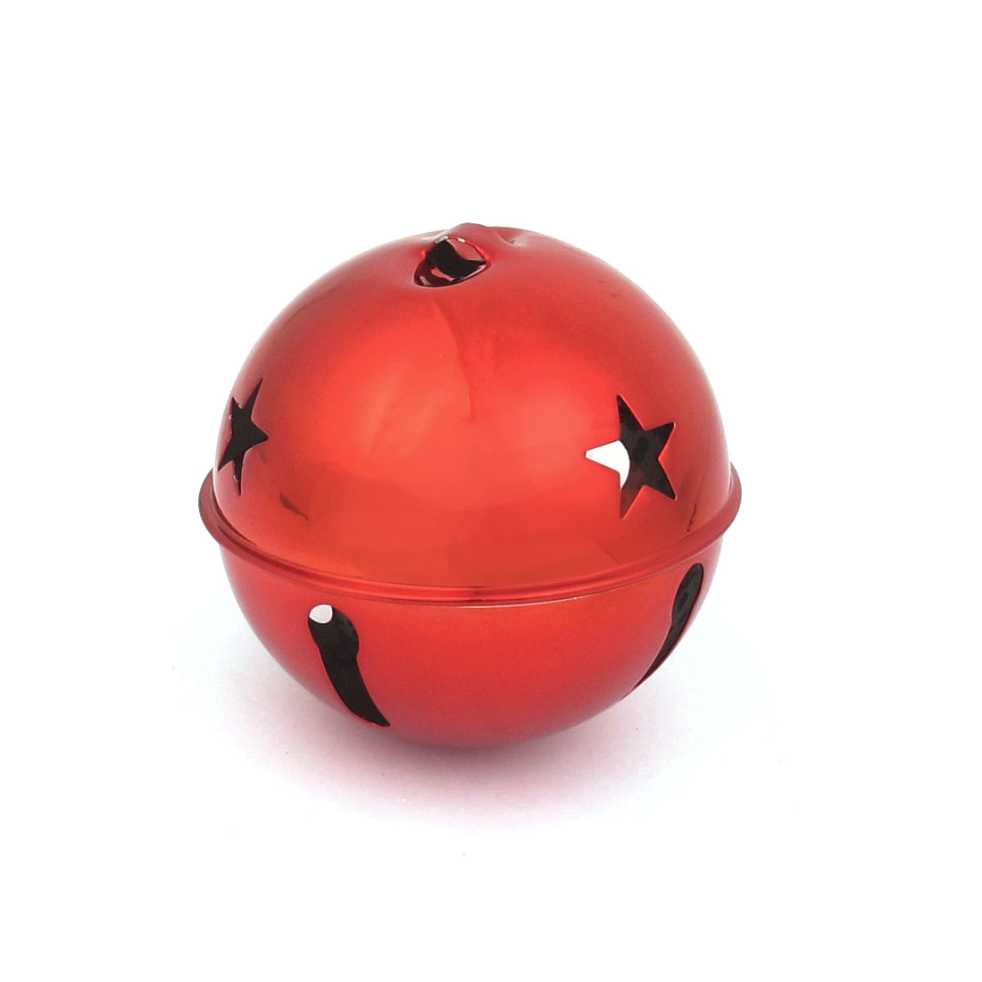 80mm Diameter Red Metal Star Detail Ball Shape Hollow Out Design Jingle Ring Bell Ornament for Christmas Tree Party