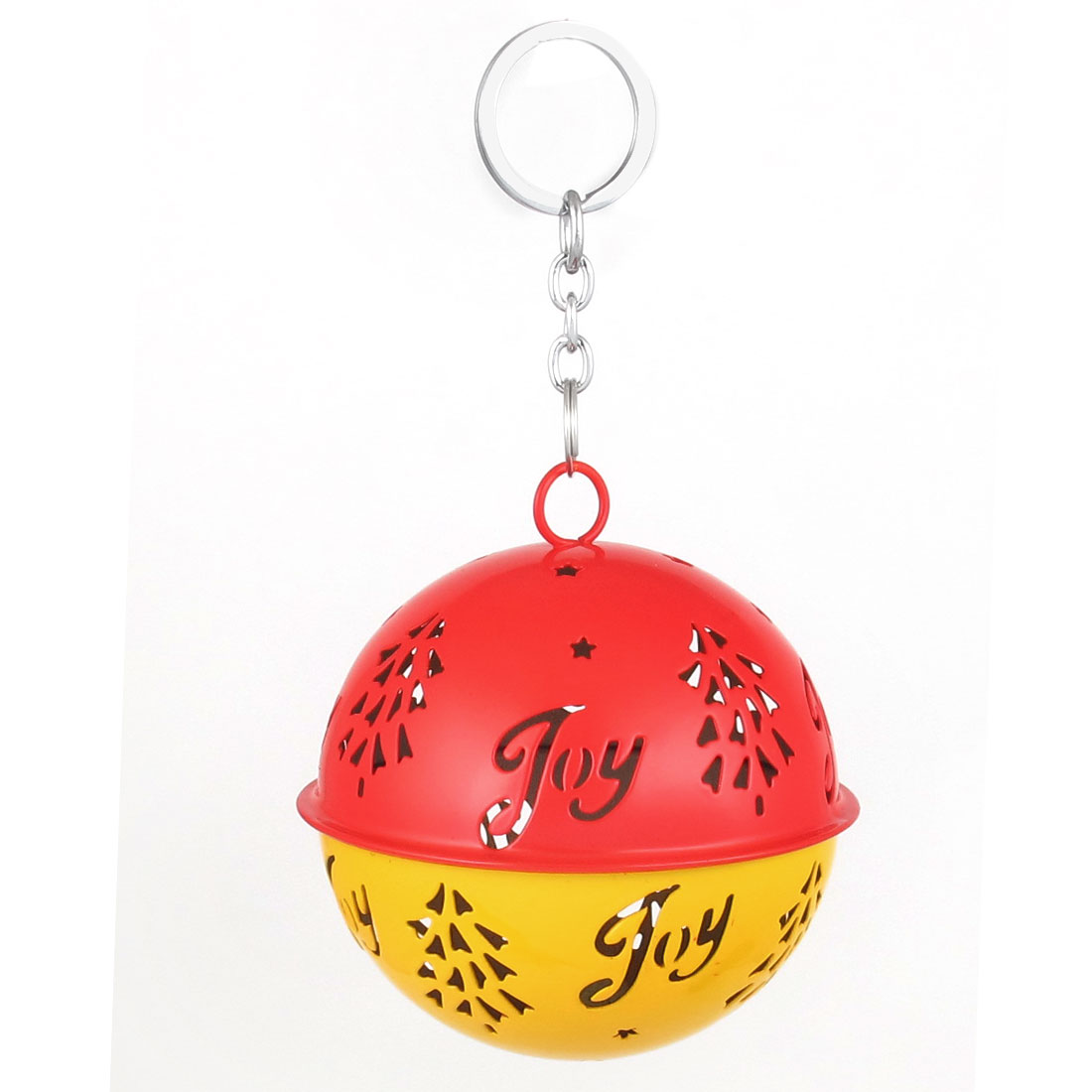 85mm Diameter Yellow Red Metal Christmas Tree Detail Ball Shape Keychain Hollow Out Design Jingle Ring Bell Ornament for Celebration Party Case