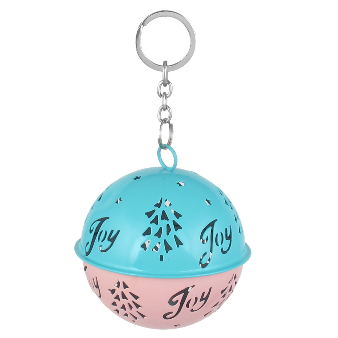 85mm Diameter Blue Pink Metal Christmas Tree Detail Ball Shape Keychain Hollow Out Design Jingle Ring Bell Ornament for Celebration Party Case
