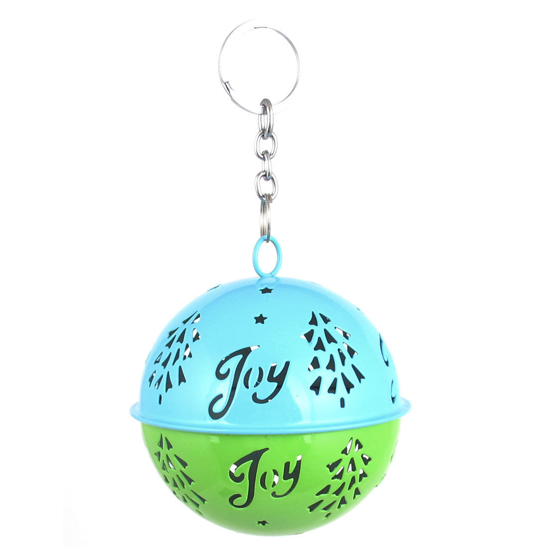 85mm Diameter Blue Green Metal Christmas Tree Detail Ball Shape Keychain Hollow Out Design Jingle Ring Bell Ornament for Celebration Party Case